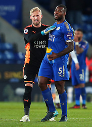 Kasper Schmeichel of Leicester City and Wes Morgan of Leicester City celebrate the win over Tottenham Hotspur - Mandatory by-line: Robbie Stephenson/JMP - 28/11/2017 - FOOTBALL - King Power Stadium - Leicester, England - Leicester City v Tottenham Hotspur - Premier League