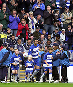 04/10/2003 - Photo  Peter Spurrier.2003/04 Nationwide Football Div 1 Reading Town FC v Bradford City FC..Reading Town's Skipper Adie Williams, lead's the players' and young quests on to the pitch..