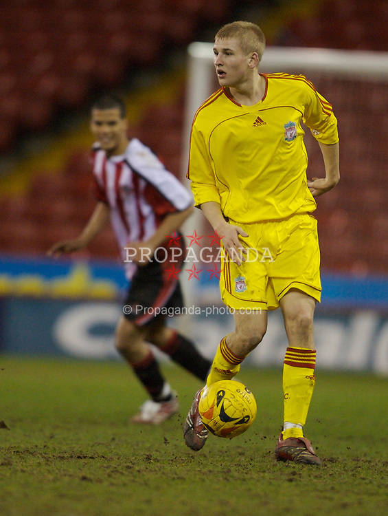 Sheffield, England - Thursday, February 15, 2007: Liverpool's Robbie Threlfall in action against Sheffield United during the FA Youth Cup Quarter-Final match at Bramall Lane. (Pic by David Rawcliffe/Propaganda)