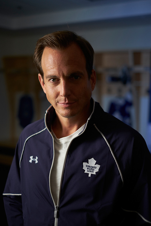 Shot on a PhaseOne IQ180 as a Environmental Portrait of Will Arnett for Toronto Maple Leafs in the Leafs Locker Room Shot on A PhaseOne IQ180