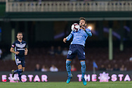 SYDNEY, AUSTRALIA - APRIL 06: Sydney FC midfielder Milos Ninkovic (10) controls the ball on his chest at round 24 of the Hyundai A-League Soccer between Sydney FC and Melbourne Victory on April 06, 2019, at The Sydney Cricket Ground in Sydney, Australia. (Photo by Speed Media/Icon Sportswire)