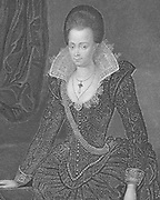 Arabella or Arbella Stuart (1575-1615). During  the reign of Elizabeth I she was second in line to the English throne after James VI of Scotland/James I of England. Died insane in the Tower of London. Engraving