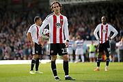 Brentford midfielder Jota (23) waits with the ball for his penalty kick during the EFL Sky Bet Championship match between Brentford and Queens Park Rangers at Griffin Park, London, England on 22 April 2017. Photo by Andy Walter.