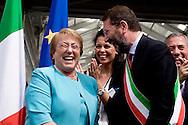 Roma 4 Giugno 2015<br /> Il presidente della Repubblica del Cile Michelle Bachelet in visita ufficiale a Roma.<br /> Il presidente del Cile  Michelle Bachelet con il sindaco di Roma Ignazio Marino visitano il  mercato di Testaccio a Roma.<br /> Rome June 4, 2015<br /> The President of Chile Michelle Bachelet on an official visit to Rome.<br /> Chile's President Michelle Bachelet with the mayor of Rome Ignazio Marino visiting the market in Testaccio in Rome.