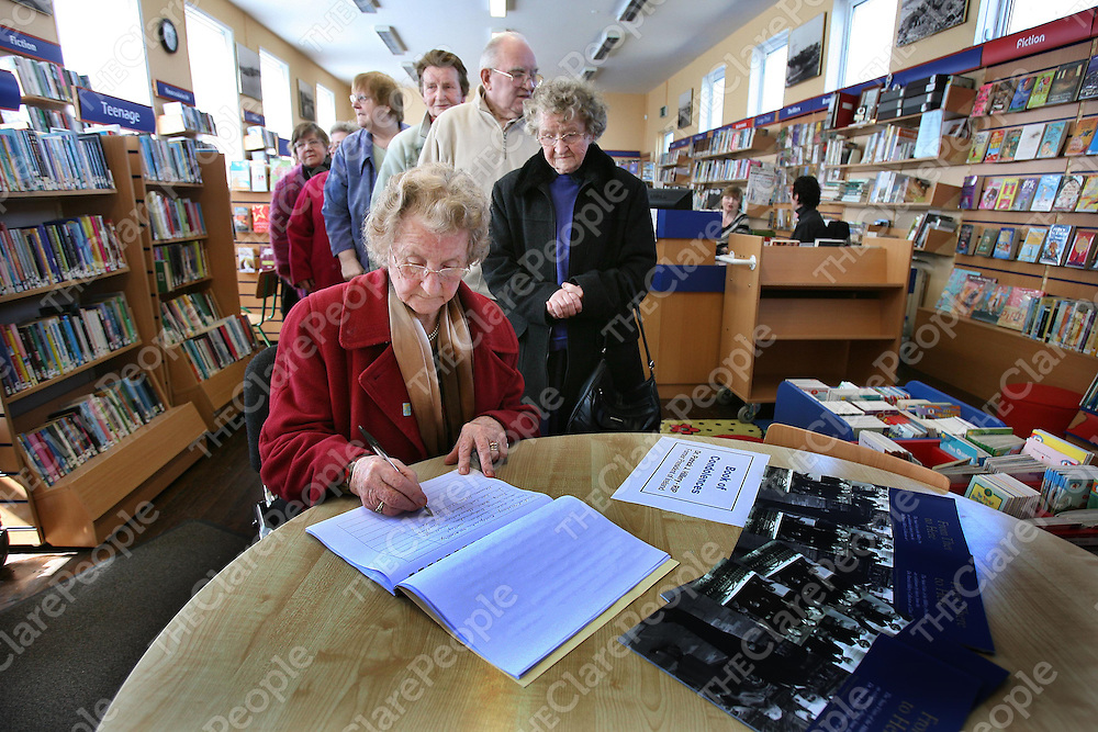 Maureen Hehir ,MIlltown Malbay signing the Book Of Condelence for the late Patrick J Hillery at the Library named in his honour at Milltown Malbay ,Co Clare on Monday.<br />