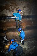 France. Paris. 75019 sewer worker in Paris underground