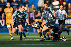 Tusi Pisi of Bristol Rugby is tackled - Rogan Thomson/JMP - 21/01/2017 - RUGBY UNION - Cardiff Arms Park - Cardiff, Wales - Cardiff Blues v Bristol Rugby - EPCR Challenge Cup.