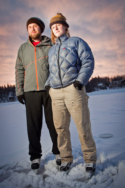 Winter enthusiasts, Michael Barber and Kari Sherman, Westchester Lagoon, Anchorage
