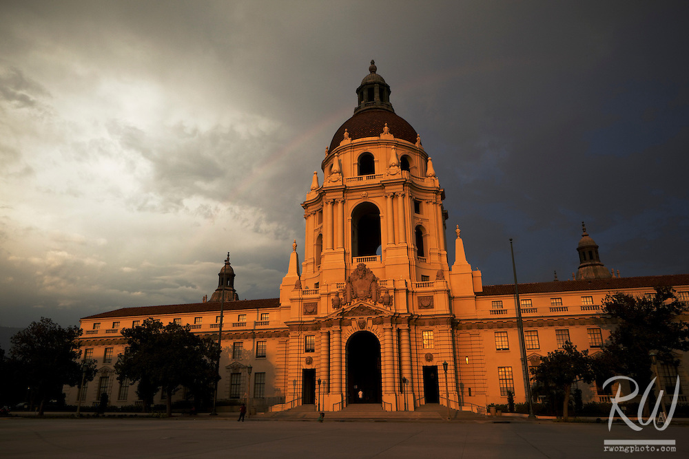 Rainbow Over Pasadena City Hall at Sunset, California