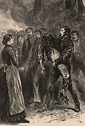 At the Pit's Mouth:  A coal miner's wife waits anxiously to see if her husband who has been in an explosion in the pit is alive or dead. Illustration from 'Gleanings from Popular Authors' (London, 1883). Engraving.