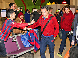 Xavi of FC Barcelona arrives at Manchester Airport with the squad ahead of the UEFA Champions League tie against Manchester City - Photo mandatory by-line: Matt McNulty/JMP - Mobile: 07966 386802 - 23/02/2015 - SPORT - Football - Manchester - Manchester Airport