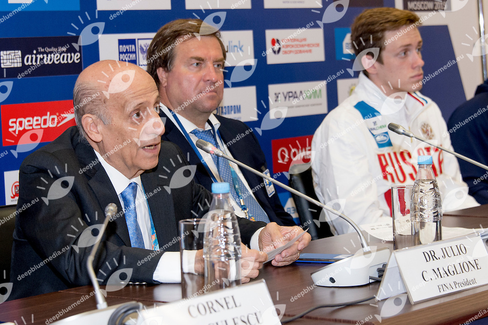 (L to R) Julio C. Maglione FINA President; Vladimir Salnikov Russian Swimming Federation President; Kirill Prigoda RUS Swimmer; <br /> Airweave FINA Wolrd Cup 2015 Moscow<br /> Swimming Nuoto Kazan Arena<br /> Day15 07/08/2015 Press Conference<br /> XVI FINA World Championships Aquatics <br /> Kazan Tatarstan RUS July 24 - Aug. 9 2015 <br /> Photo G.Scala/Deepbluemedia/Insidefoto