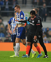 Football - 2019 / 2020 Premier League - Brighton & Hove Albion vs. Chelsea<br /> <br /> Dan Burn of Brighton leaves the field with an injured arm, after clashing with Reece James (right) at The Amex.<br /> <br /> COLORSPORT/ANDREW COWIE