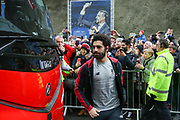 Liverpool striker Mohamed Salah (11) arrives off the club coach during the Premier League match between Brighton and Hove Albion and Liverpool at the American Express Community Stadium, Brighton and Hove, England on 12 January 2019.