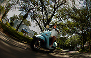 Hillsborough, Tampa, Fl. 6/16/2009-STVESPA 24- Tom Anderson, co-owner of SoHo Scooters rides through South Tampa on a Aprilla Mojito Custom Tuesday, June 16, 2009  in Tampa, Fl.  11 OF IMAGES STAFF MICHAEL SPOONEYBARGER.