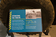 Information panel about International Half-Track M5 vehicle, REME museum, MOD Lyneham, Wiltshire, England, UK