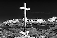 Mostar -Hum Hill. An enourmous catholic cross placed on the mountain side behind Mostar which can be seen from all over Mostar, also the muslim side