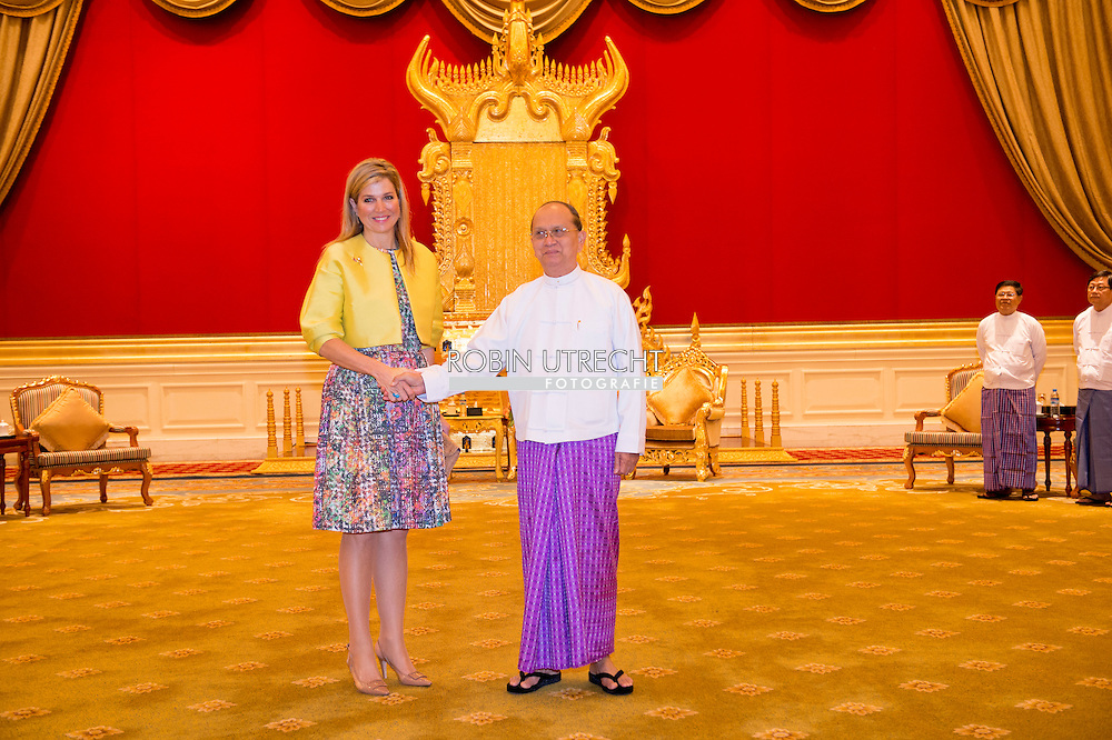 1-4-2015 Nay Pyi Taw  MYANMAR  - president U Thein Sein, president van de Republiek van de Unie van Myanmar and his wife Daw Khin Khin Win   . Queen Maxima visits in its capacity as special advocate of the Secretary-General of the United Nations for inclusive finance for development (inclusive finance for development) Myanmar on Monday, March 30 to Wednesday, April 1st, 2015. COPYRIGHT ROBIN UTRECHT