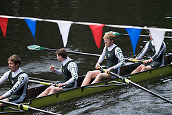 © Licensed to London News Pictures.13/06/15<br /> Durham, England<br /> <br /> A crew react as they cross the finish line during the 182nd Durham Regatta rowing event held on the River Wear. The origins of the regatta date back  to commemorations marking victory at the Battle of Waterloo in 1815. This is the second oldest event of this type in the country and attracts over 2000 competitors from across the country.<br /> <br /> Photo credit : Ian Forsyth/LNP