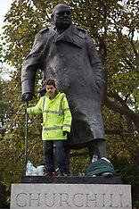 OCT 22 2014 Demonstrator on top of Winston Churchill statue