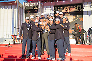 winning Team USA with the trophy at the presentation with wives and girlfriends WAGS<br /> after winning 17 to 11 points<br /> Sunday singles matches on the final day at the Ryder Cup 2016