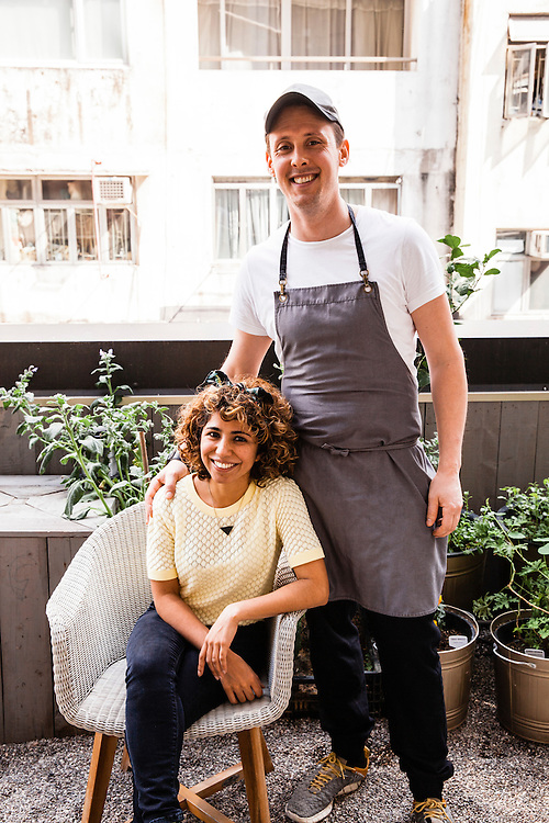 Salma Gaj and chef Nurdin Topham at NUR, 3/F, 1 Lyndhurst Terrace, Hong Kong