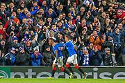 Alfredo Morelos (#20) of Rangers FC celebrates with James Tavernier (#2) of Rangers FC after scoring the opening goal during the Group G Europa League match between Rangers FC and FC Porto at Ibrox Stadium, Glasgow, Scotland on 7 November 2019.