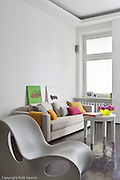 Very small bright colours one space apartment in Warsaw Poland