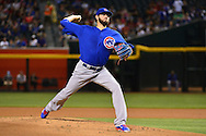 PHOENIX, ARIZONA - APRIL 08:  Jason Hammel #39 of the Chicago Cubs delivers a pitch in the first inninga against the Arizona Diamondbacks at Chase Field on April 8, 2016 in Phoenix, Arizona.  (Photo by Jennifer Stewart/Getty Images)