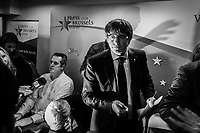 "Brussels Belgium 2017 Oktober 31 Catalonia's ousted president, Carles Puigdemont, said during a crowded press conference at the Brussels Press Centre to act ""in freedom and safety"", but not to seek political asylum.Leaving at the end of the pc"