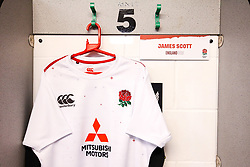 James Scott of England U20 shirt hung up in the dressing room - Mandatory by-line: Robbie Stephenson/JMP - 15/03/2019 - RUGBY - Franklin's Gardens - Northampton, England - England U20 v Scotland U20 - Six Nations U20