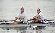 Hamburg. GERMANY.  RUS JW2X, wearing Poncho's as the rain pours at the   Saturday Morning, Semi Finals A/B.  2014 FISA Junior World rowing. Championships.  09:54:52  Saturday  09/08/2014  [Mandatory Credit; Peter Spurrier/Intersport-images]