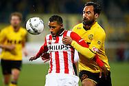 16-04-2016 VOETBAL:RODA JC - PSV:KERKRADE<br /> Luciano Narsingh van PSV in duel met Ard van Peppen van Roda JC <br /> Foto: Geert van Erven