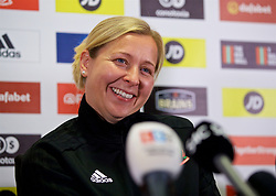 NEWPORT, WALES - Thursday, August 30, 2018: Wales' manager Jayne Ludlow during a press conference at Rodney Parade ahead of the final FIFA Women's World Cup 2019 Qualifying Round Group 1 match against England. (Pic by David Rawcliffe/Propaganda)