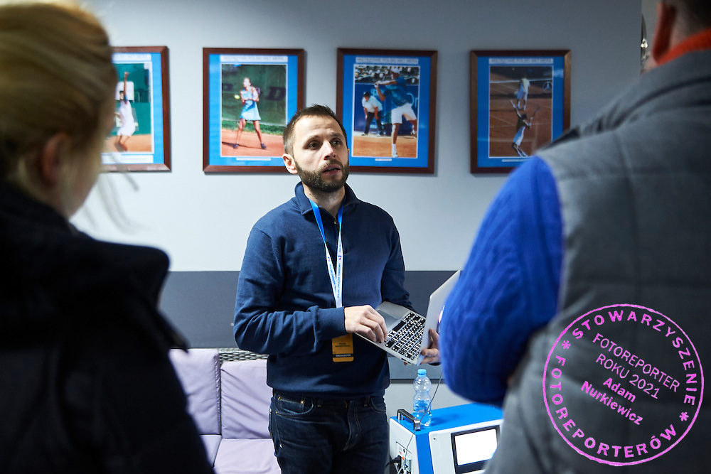 Mateusz Warzocha (W&amp;W S.C. &amp; iCoolsport) speaks during PZT - Trainer's Conference of Polish Tennis Association at Mera Hall in Warsaw, Poland.<br />