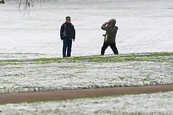 © Licensed to London News Pictures. 18/03/2018. London, UK. People take photos as snow has fallen overnight and settled in Green Park. Photo credit: Ray Tang/LNP