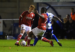 Connor Lemonheigh-Evans and Kel Akpobire of Bristol City in action against Bristol Rovers - Mandatory by-line: Paul Knight/JMP - 16/11/2017 - FOOTBALL - Woodspring Stadium - Weston-super-Mare, England - Bristol City U23 v Bristol Rovers U23 - Central League Cup