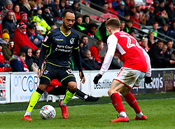 Byron Moore of Bristol Rovers takes on Ashley Hunter of Fleetwood Town - Mandatory by-line: Robbie Stephenson/JMP - 02/04/2018 - FOOTBALL - Highbury Stadium - Fleetwood, England - Fleetwood Town v Bristol Rovers - Sky Bet League One