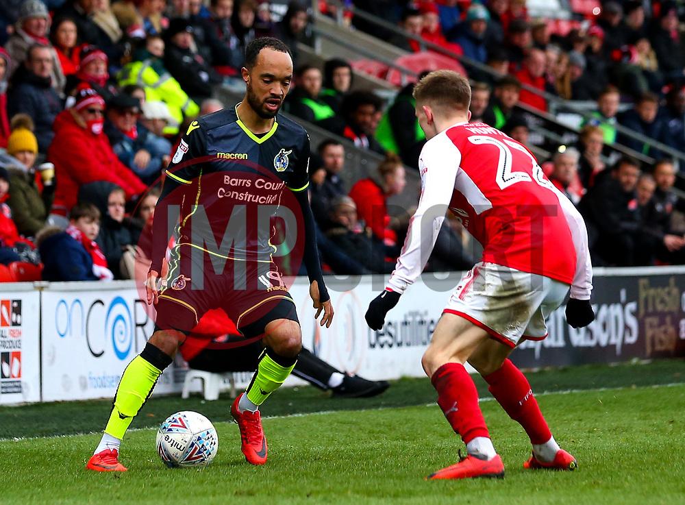 Byron Moore of Bristol Rovers takes on Ashley Hunter of Fleetwood Town - Mandatory by-line: Robbie Stephenson/JMP - 02/04/2018 - FOOTBALL - Highbury Stadium - Fleetwood, England - Fleetwood Town v Bristol Rovers - Sky Bet League One