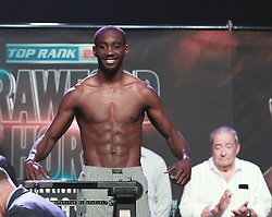 June 8, 2018 - Las Vegas, Nevada, United States of America - Undisputed junior welterweight Boxing Champion Terrence Crawford  smiles after making weight on June 8, 2018 for the  WBO Welterweight World title fight againgst  Jeff Horn at the MGM Grand Arena  in Las Vegas, Nevada. (Credit Image: © Marcel Thomas via ZUMA Wire)