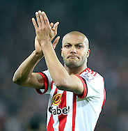 An emotional Younes Kaboul of Sunderland after the Barclays Premier League match at the Stadium Of Light, Sunderland<br /> Picture by Simon Moore/Focus Images Ltd 07807 671782<br /> 11/05/2016