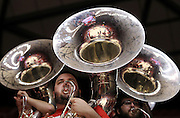 Members of the Utah Utes band's tuba section perform during the first half of an NCAA college basketball game against Washington in Salt Lake City, Saturday, Jan. 7, 2012. (AP Photo/Colin E Braley)