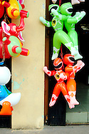 inflatable toys sold at street of Yangon
