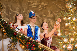 Chatsworth House Press Launch -  Dancers from The Claire Dobinson School of Dancing based in Darley Dale, Matlock, Derbyshire, Daisy Edwards as Clara, Ben Jones as the Nutcrackerand  Alice Rathbone as the Sugar Plumb Fairy<br /> <br />   04 October 2016<br />   Copyright Paul David Drabble<br />   www.pauldaviddrabble.photoshelter.com