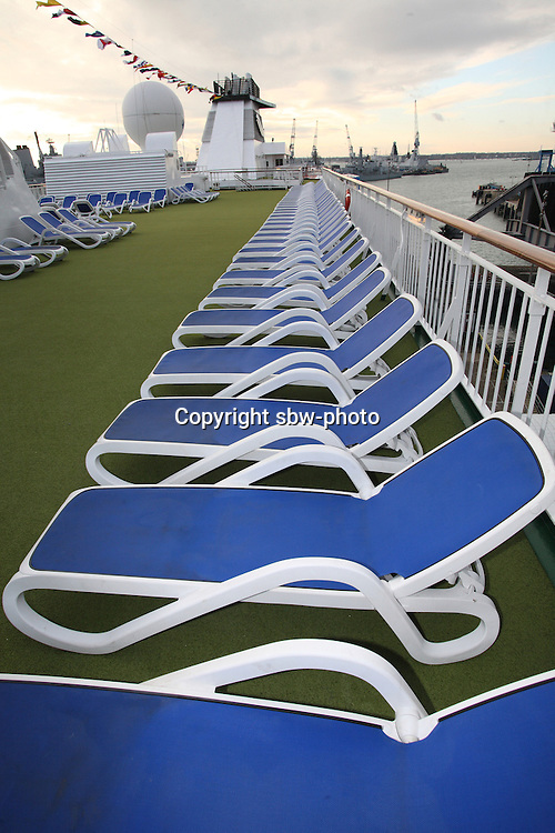 Voyages of Discovery's newly refurbished ship mv Voyager arrives in Portsmouth, UK, ahead of it's naming ceremony on Tuesday..Deckchairs on the sundeck.