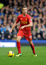 Liverpool's Jordan Henderson - Photo mandatory by-line: Dougie Allward/JMP - Tel: Mobile: 07966 386802 23/11/2013 - SPORT - Football - Liverpool - Merseyside derby - Goodison Park - Everton v Liverpool - Barclays Premier League