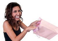 Young hispanic woman very happy receiving a present.