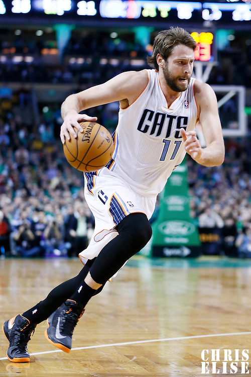 16 March 2013: Charlotte Bobcats power forward Josh McRoberts (11) dribbles during the Boston Celtics 105-88 victory over the Charlotte Bobcats at the TD Garden, Boston, Massachusetts, USA.