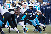 NASHVILLE, TN - DECEMBER 31:  Leonard Fournette #27 of the Jacksonville Jaguars runs the ball and is grabbed from behind by Avery Williamson #54 of the Tennessee Titans at Nissan Stadium on December 31, 2017 in Nashville, Tennessee.  The Titans defeated the Jaguars 15-10.  (Photo by Wesley Hitt/Getty Images) *** Local Caption *** Leonard Fournette; Avery Williamson