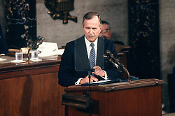 United States President George H.W. Bush speaks to a Joint Session of the U.S. Congress on the situation with Iraq and the Persian Gulf and on the federal deficit in the U.S. Capitol in Washington, D.C. on September 11, 1990.<br /> Credit: Ron Sachs / CNP /ABACAPRESS.COM